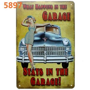 What Happens In Garage Vintage Metal Tin Signs Plate Retro Decor Art