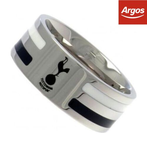 Stainless Steel Tottenham Hotspur Striped Ring Size X
