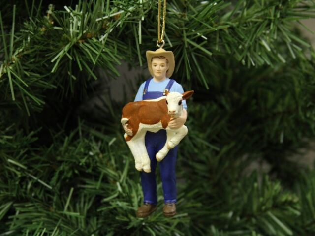 Farmer with Calf Christmas Ornament, Farming