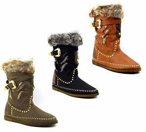 Stivali-indianini-donna-stivaletti-bassi-eco-pelle-scarpe-etniche-indiane-pelo