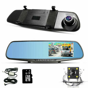 """4.3"""" 1080P Dual Lens Mirror Dash Cam Rearview with 32GB TF Card and Hardwire Kit"""