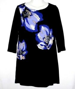 WOMEN'S STYLE & CO BLACK EMBELLISHED FLORAL EXTRA LONG STRETCHY TUNIC TOP SIZE S