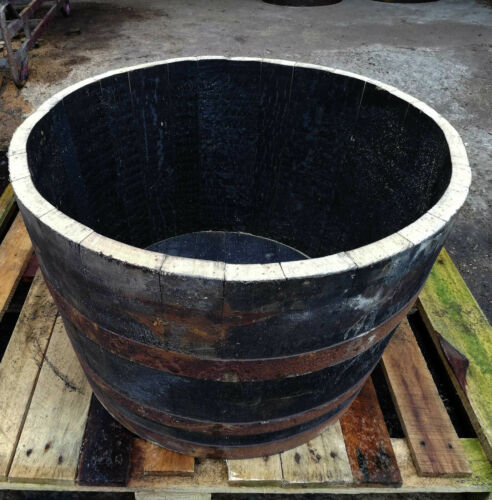 Oak Half Whiskey Barrel Planter Pot Garden Flowers Wooden Genuine Reclaimed