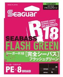 NEW-Seaguar-R18-Kanzen-Seabass-150m-19lb-1-Flash-Green-0-165mm-8-Braid-PE-JPN