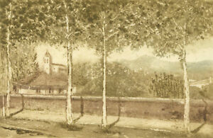 20th Century Etching - View Through the Trees into the Mountains