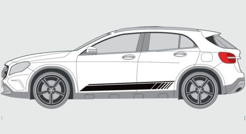 Fits-Mercedes-Benz GLA Nuit Edition AMG STYLE Side Stripes Decal Set GLA45 45