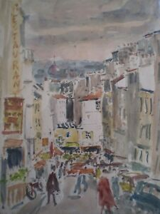 Adroit Drawing Antique Watercolor Street Tholoze Montmartre Paris Years 70-80 Sign Deco Possessing Chinese Flavors Art