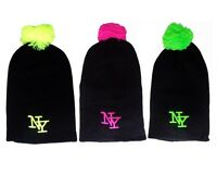 NY Neon Pink Yellow Green Beanie Knitted Pom Pom Slouch Bobble Baggy Hat Cap