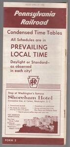 33294-1958-PENNSYLVANIA-RAILROAD-TIMETABLE-SHOREHAM-HOTEL-WASHINGTON-D-C