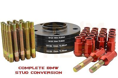Bmw 10mm & 15mm Black Hub Centric Wheel Spacers + Stud Conversion Red Lug Nuts