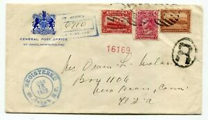 Newfoundland-1928-St-Johns-GPO-Coat-of-Arms-Registered-Cover-to-USA-14c-Rate