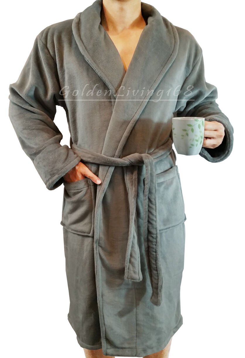 29965a6a10 Details about High Quality Men Grey Shawl Collar Velour Plush Thick Bath  Robe Spa   Hotel