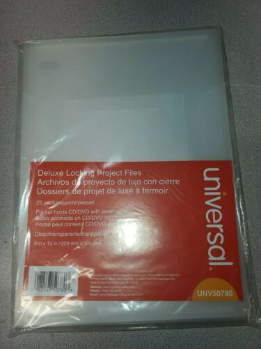 22E Universal Deluxe Locking Project File with CD-ROM Holder 9x12 Poly Clear 25
