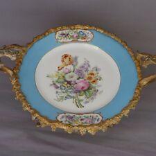 Sèvres 1860, Assiette Aux Fleurs Montée En Coupe Cerclée Bronze Doré, XIX ème