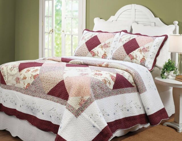RED FLORAL PATCH 3p King QUILT : GEORGIA SHABBY BURGUNDY WHITE CHIC COTTAGE
