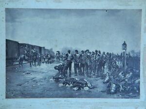 Fotograbado Soldados Guerra 1870 Etienne Prosper Berna-Bellecour 1838-1910