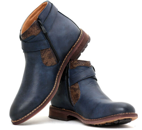 Mens Biker Smart Ankle Casual Boots Designer Fashion Smart Shoes with Zip Size