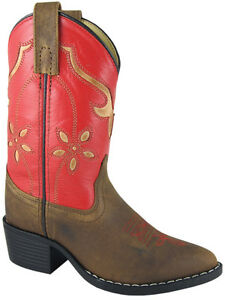Smoky-Mountain-Girls-Cowboy-Cowgirl-Boots-Brown-Red-Kids-9-10-11-12-13-1-2-3