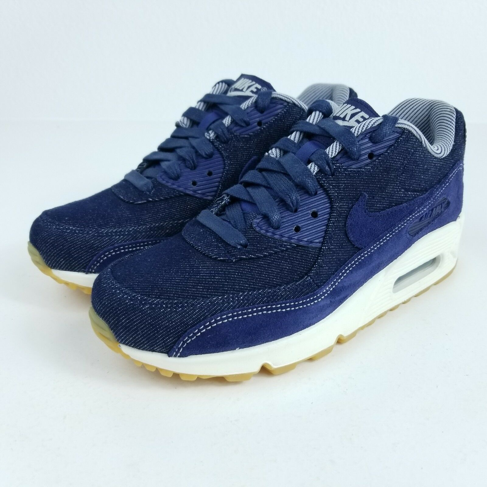 NIKE Air Max 90 SE Womens Sz 7.5 Shoes Denim Blue White Gum 881105 401