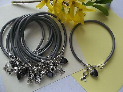 10 Brain Cancer Awareness Bracelets Gray Hope Ribbon Charm Heart Bead Ebay