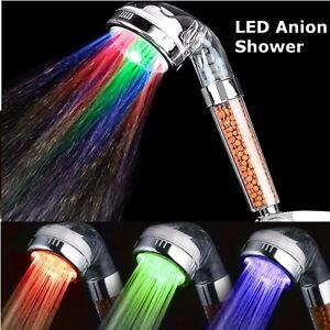 LED-Douchette-Tete-Douche-Pommeau-Booster-SPA-Anion-Shower-Head-Pr-Salle-de-Bain