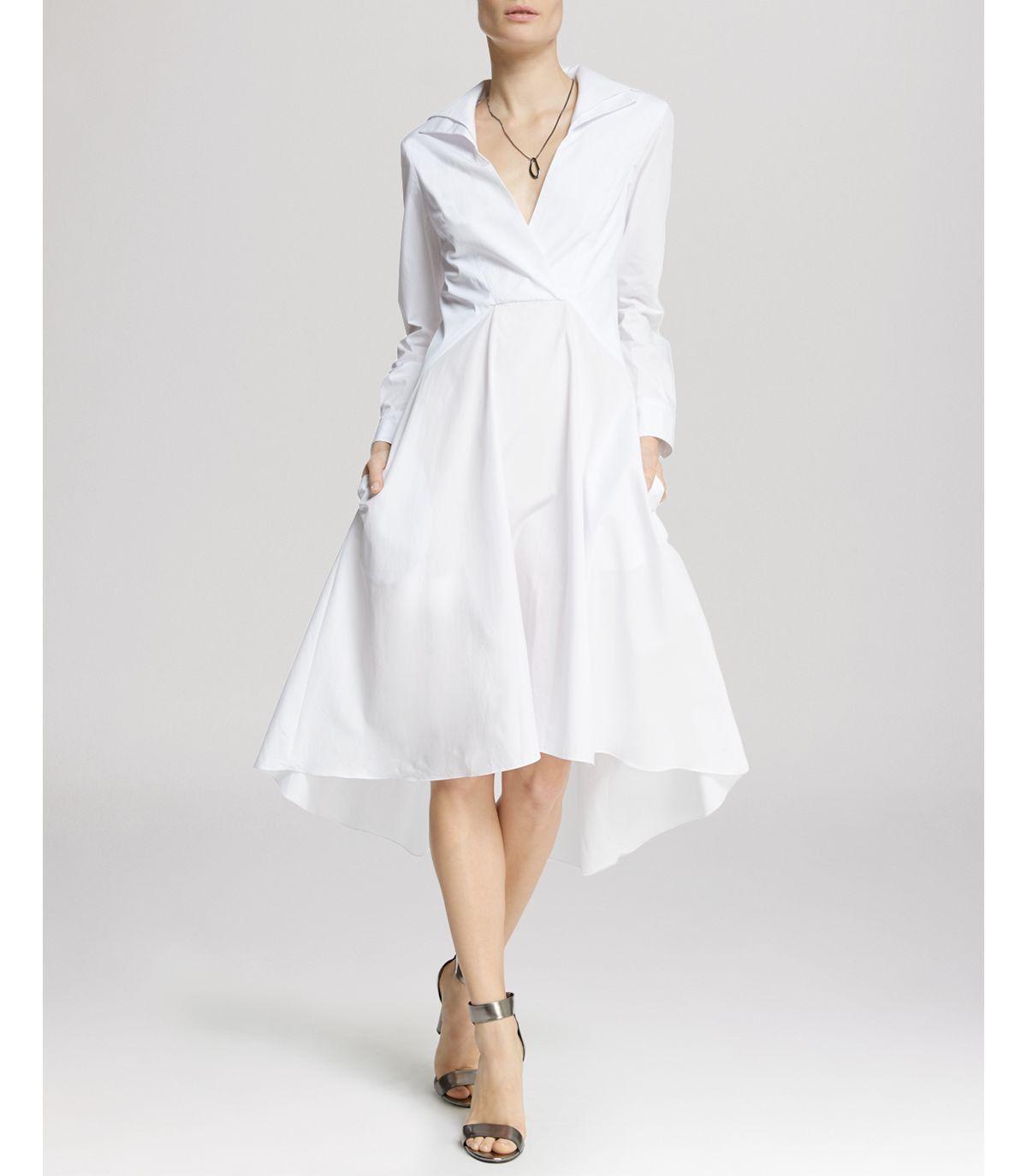 Halston Heritage White Linen Hi Lo Shirt Dress sz 0 NWT