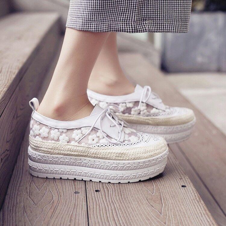 NUOVO Donna Floreale STRINGATI PLATEAU ZEPPA E TACCO Creeper Pizzo Floreale Athletic Shoes