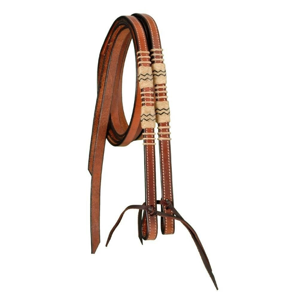 Tough-1 Split Reins with Braided Rawhide and Tie Bit Ends Medium Oil