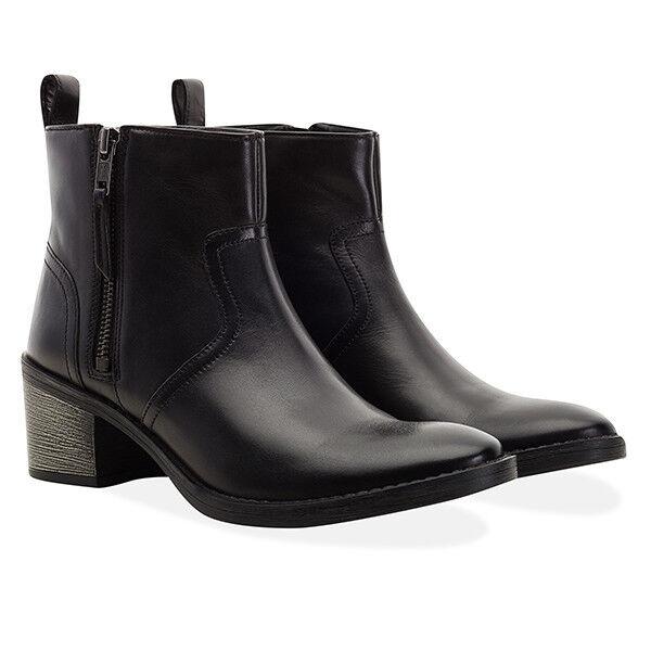 Redfoot Damas De Cuero Negro Carmel Cremallera Tobillo Botas Zapatos /euro 42