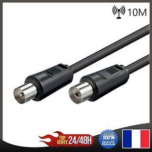 Cable-Cordon-coaxial-Antenne-TV-Male-Femelle-10m-couleur-noir