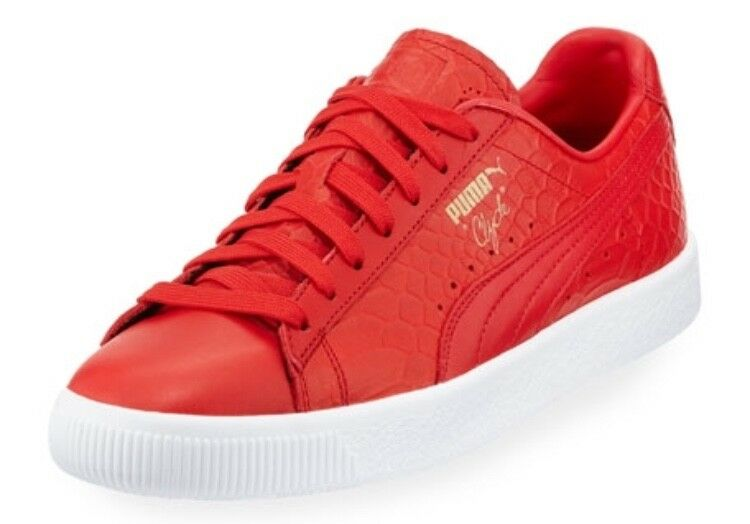 PUMA CLYDE SNAKE EMBOSSED SNEAKER RED RARE HTF SHOE