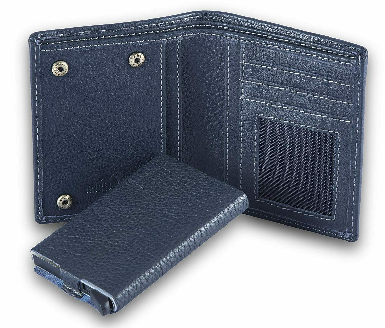 New Leather RFID Wallet with Detachable Card Case for Men Navy Blue