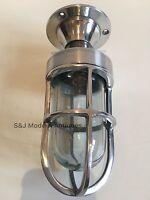 Industrial Bulkhead Wall Light Vintage Antique Retro Cage Ship Lamp Aluminium