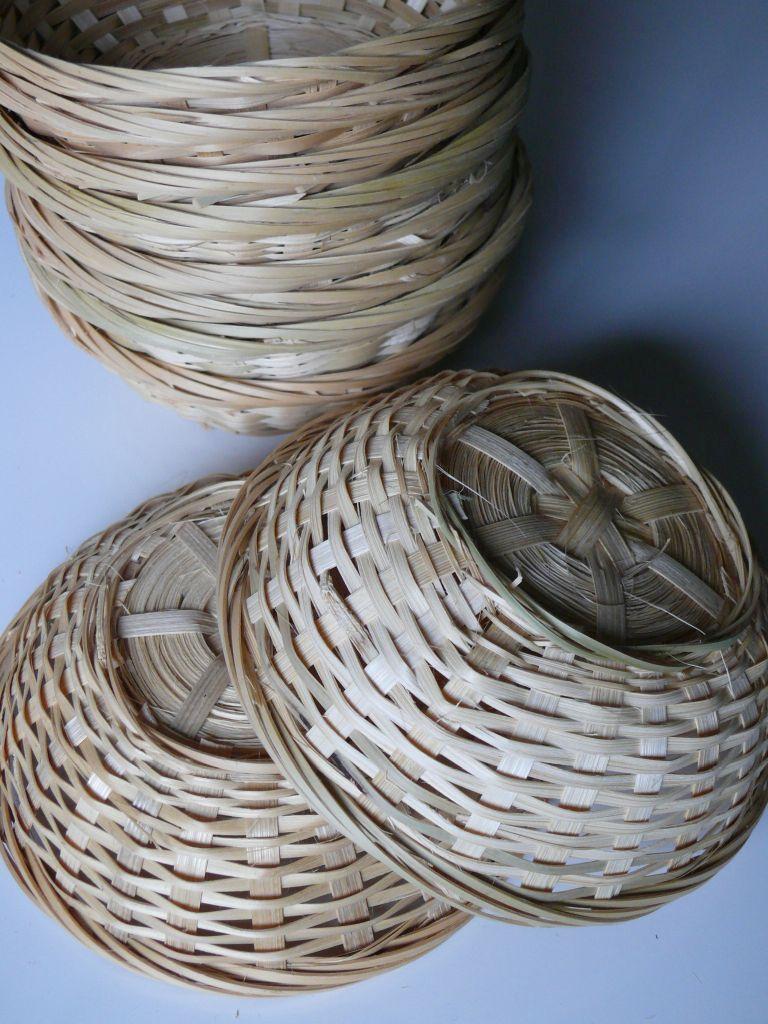 PANIER rempli d'oeufs, Paques, bambuskorb environ nature, 15cmx5cm, 50er Set