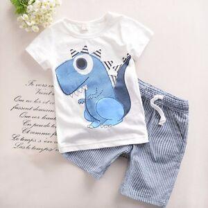 2PCS-Toddler-Boy-Kids-Outfits-Dinosaur-T-shirt-Striped-Shorts-Casual-Clothes-Set