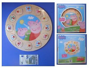 Orologio-in-legno-di-Peppa-Pig-puzzle-a-incastro-ore-minuti-12-numeri-quantita