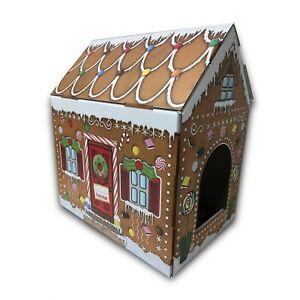 Cardboard Pet House Gingerbread Cat House Bed Box Gift For Cats Ebay