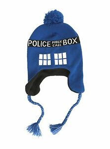 87bba437bd6 Image is loading Doctor-Who-TARDIS-Pom-Beanie-Blue-Police-Box-