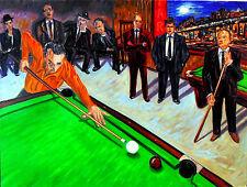 MUSEUM ART Original OIL Pool Table Art Painting Arthur Robins NYC Art Billiards