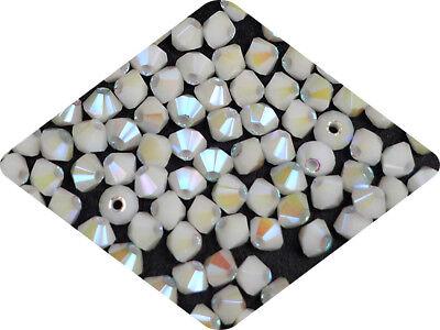 White Opal full AB 3mm Rondell//Diamond 4mm AB2X Czech MC Glass Bicone Beads