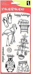 Inkadinkado-Clear-Stamps-Warmest-Wishes-Christmas-Beach-Chair-Flamingo-Tree