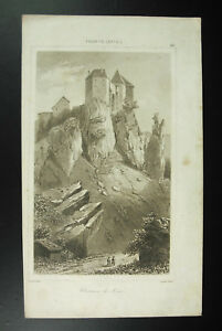 Schloss-All-Au-15-Jhd-Jahrhundert-Lemaitre-Gaucherel-Gravur-c1850