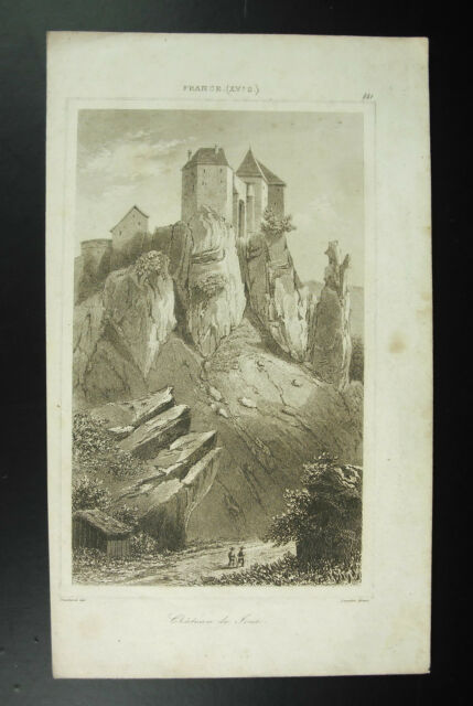 Castle Of all to The Xve Century Lemaitre/Gaucherel Engraving c1850