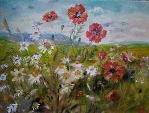 Poppies-Wensleydale-Impressionism-Oil-on-canvas-Yorkshire-Dales-Original-Signed