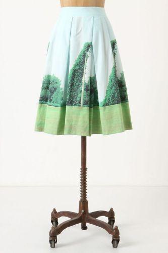 Anthropologie Sarah Ball Photography Kudzu Skirt US 0 Green bluee Sky Nature Art