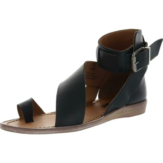 Free People Womens Black Leather Strappy Sandals Shoes 38 Medium (B,M) BHFO 0468