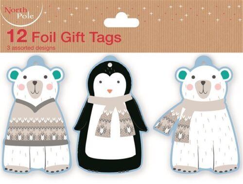 12 MIGNON géant ours polaire Feuille Noël cadeau tags avec cordon