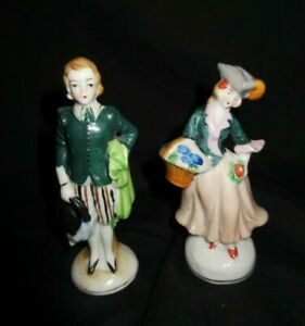 Vintage Porcelain Colonial Man Woman Figurines From Occupied Japan 4 5 Tall Ebay