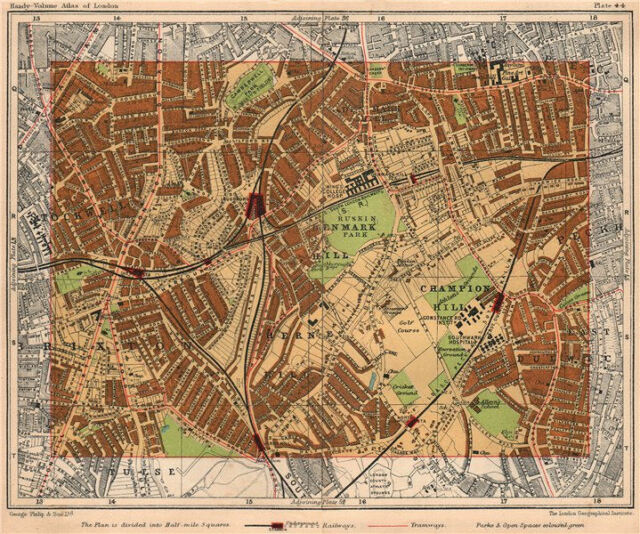 Petersham Map London 1932 #87-88 Richmond East Sheen