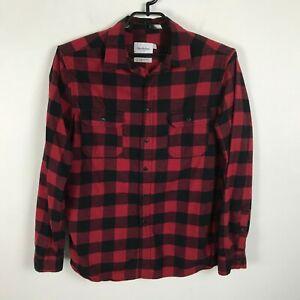 Goodfellow-Flannel-Lumberjack-Shirt-Mens-Size-L-Plaid-Long-Sleeve-Cotton-Red